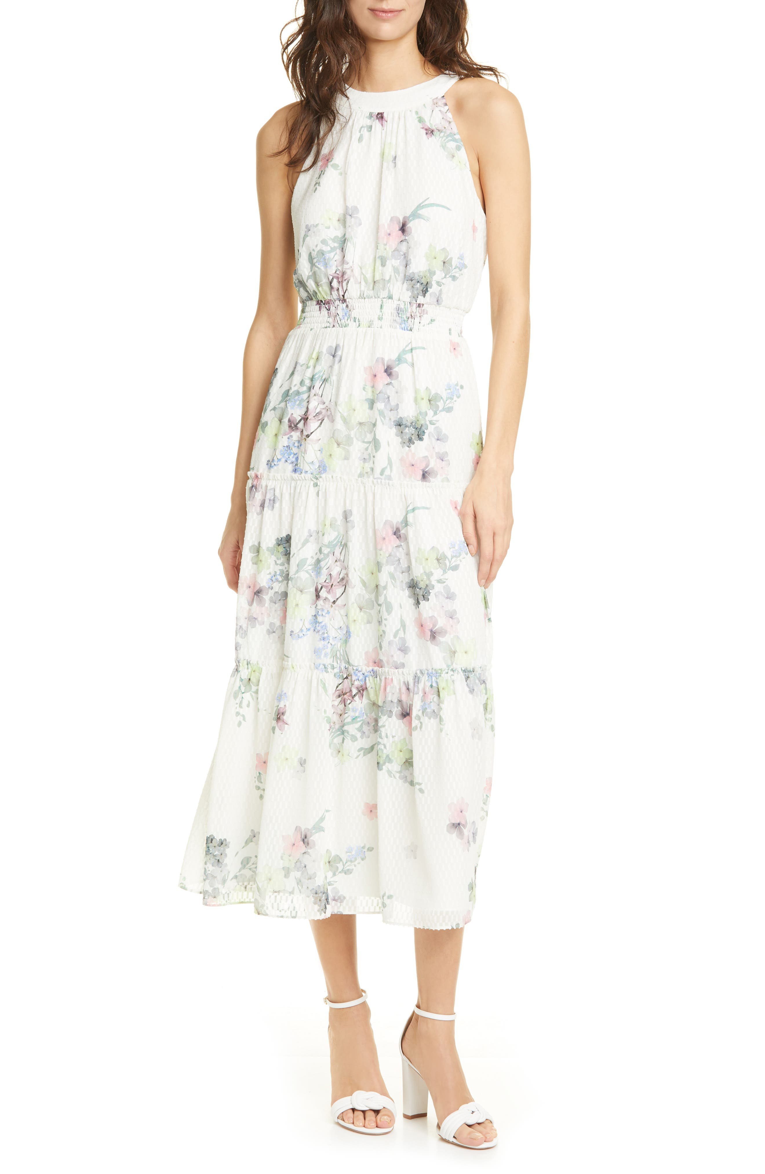 Ted Baker Kahlay Pergola Tiered Halter Neck Dress In Natural