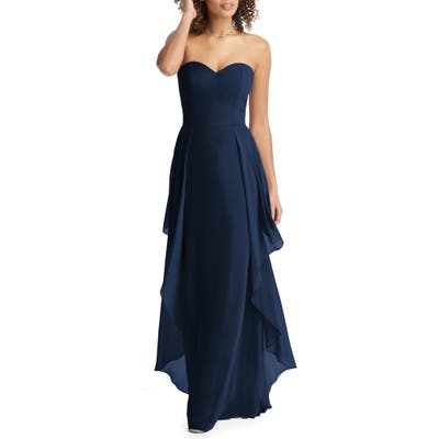 Social Bridesmaids Strapless Sweetheart Neck Chiffon Gown, Blue