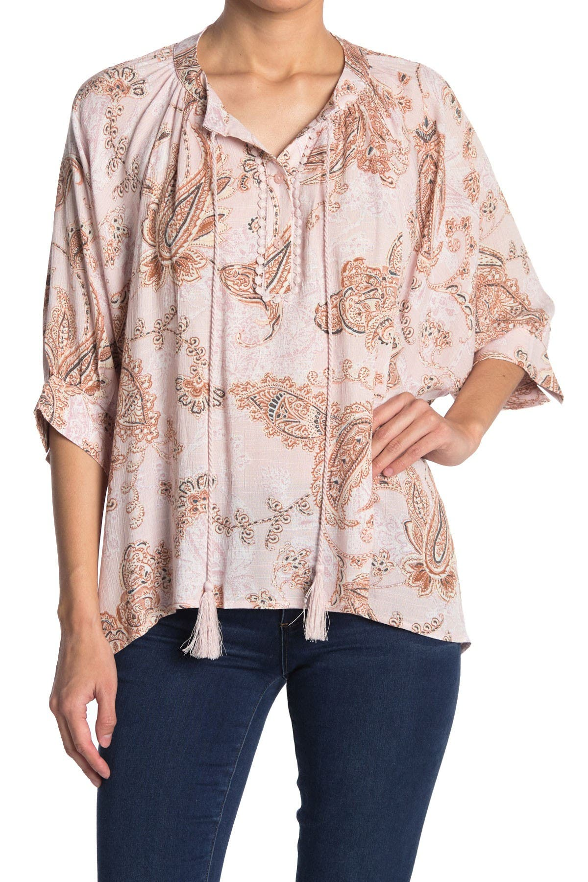 Image of Everleigh Organza-Like Tassel and Crochet Blouse