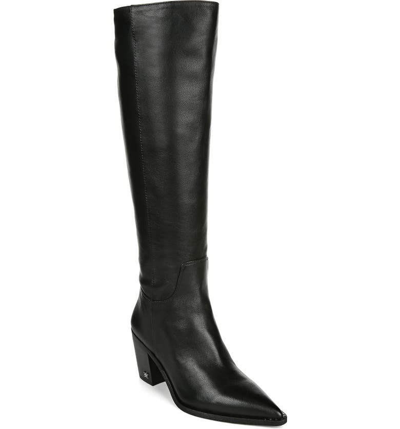 SAM EDELMAN Lindsey Pointed Toe Knee High Boot, Main, color, BLACK LEATHER