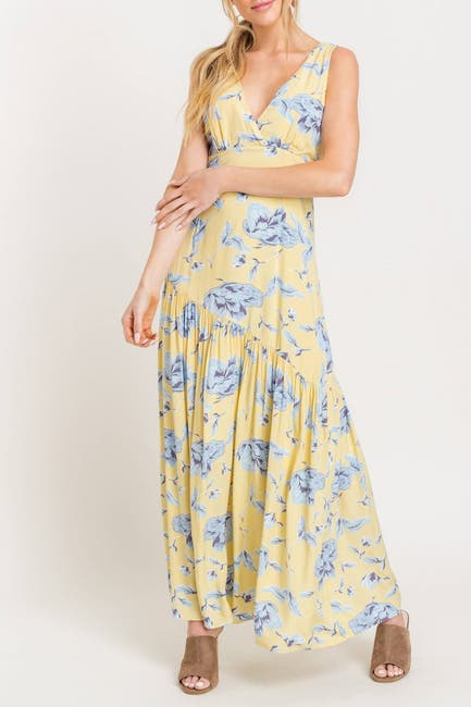 Image of Lush Plunge Floral Maxi Dress