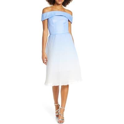 Chi Chi London Mireya Off The Shoulder Party Dress, Blue