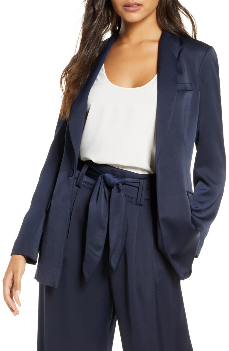 ELIZA J Satin Blazer, Main, color, NAVY