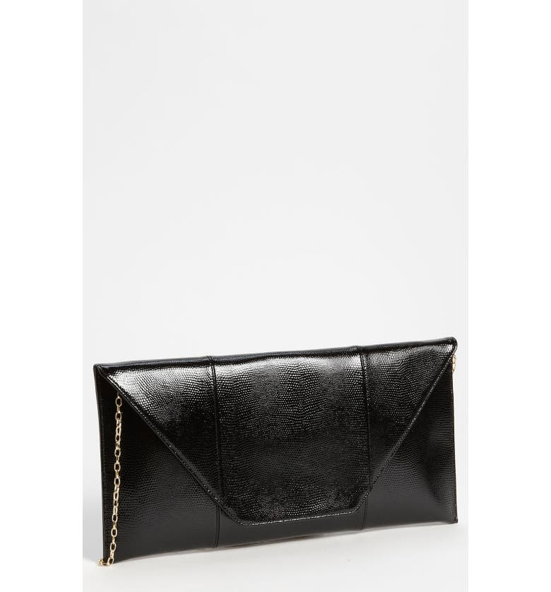 HALOGEN<SUP>®</SUP> Halogen Lizard Embossed Patent Leather Flap Clutch, Main, color, 001