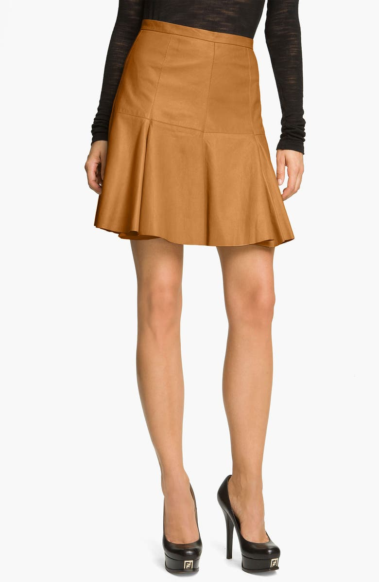 HALSTON HERITAGE Flared Leather Skirt, Main, color, 220