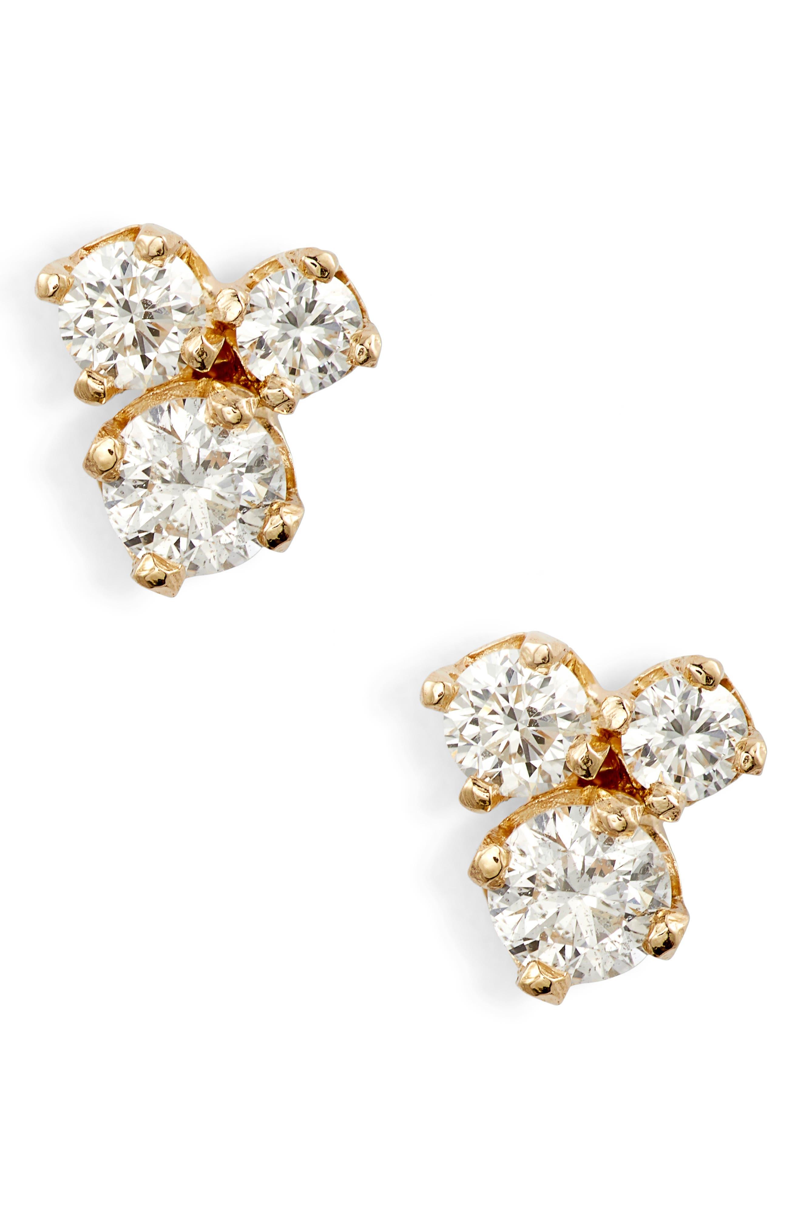 Zoe Chicco Three-Diamond Prong Stud Earrings