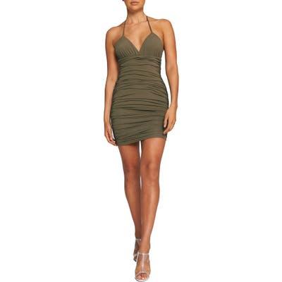Tiger Mist Amber Sleeveless Ruched Minidress, Green