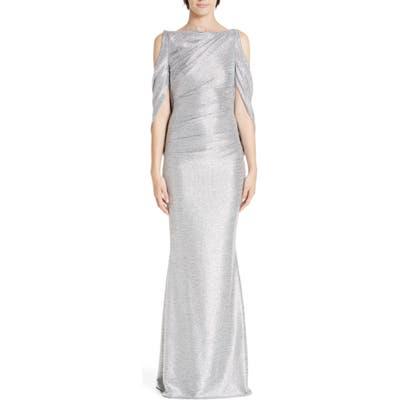 Talbot Runhof Cold Shoulder Drape Back Gown