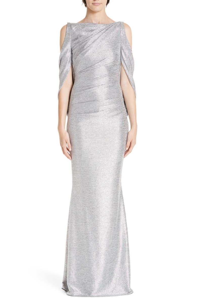 TALBOT RUNHOF Cold Shoulder Drape Back Gown, Main, color, SILVER