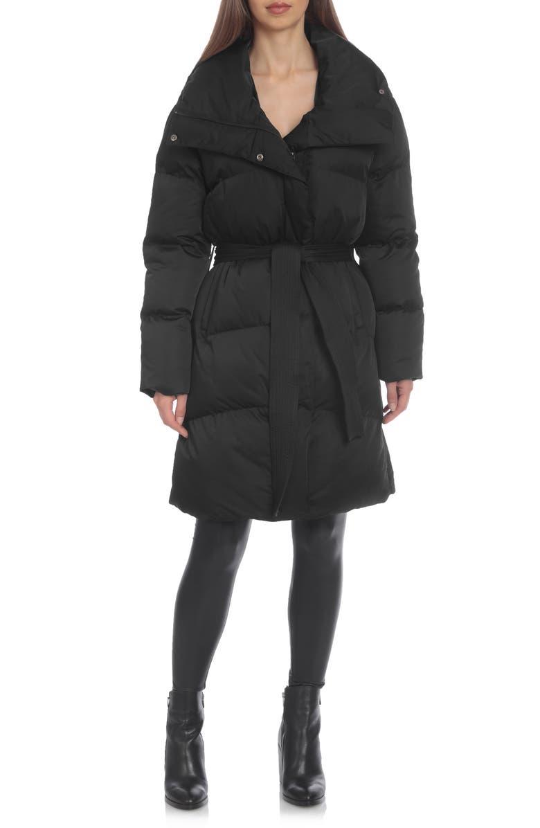 AVEC LES FILLES Belted Puffer Coat, Main, color, 001