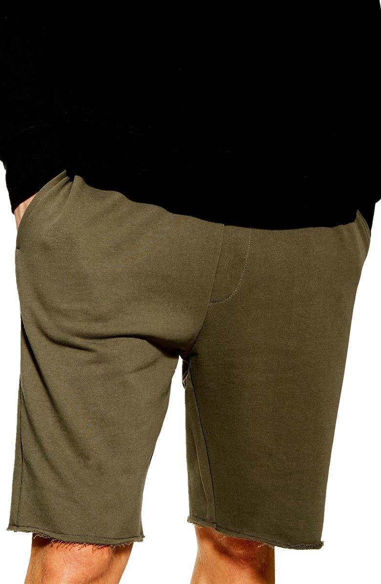 TOPMAN Ross Raw Hem Shorts, Main, color, OLIVE
