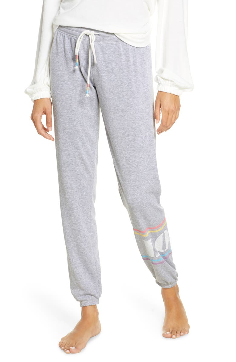 PJ SALVAGE Peached Jogger Pants, Main, color, HEATHER GREY