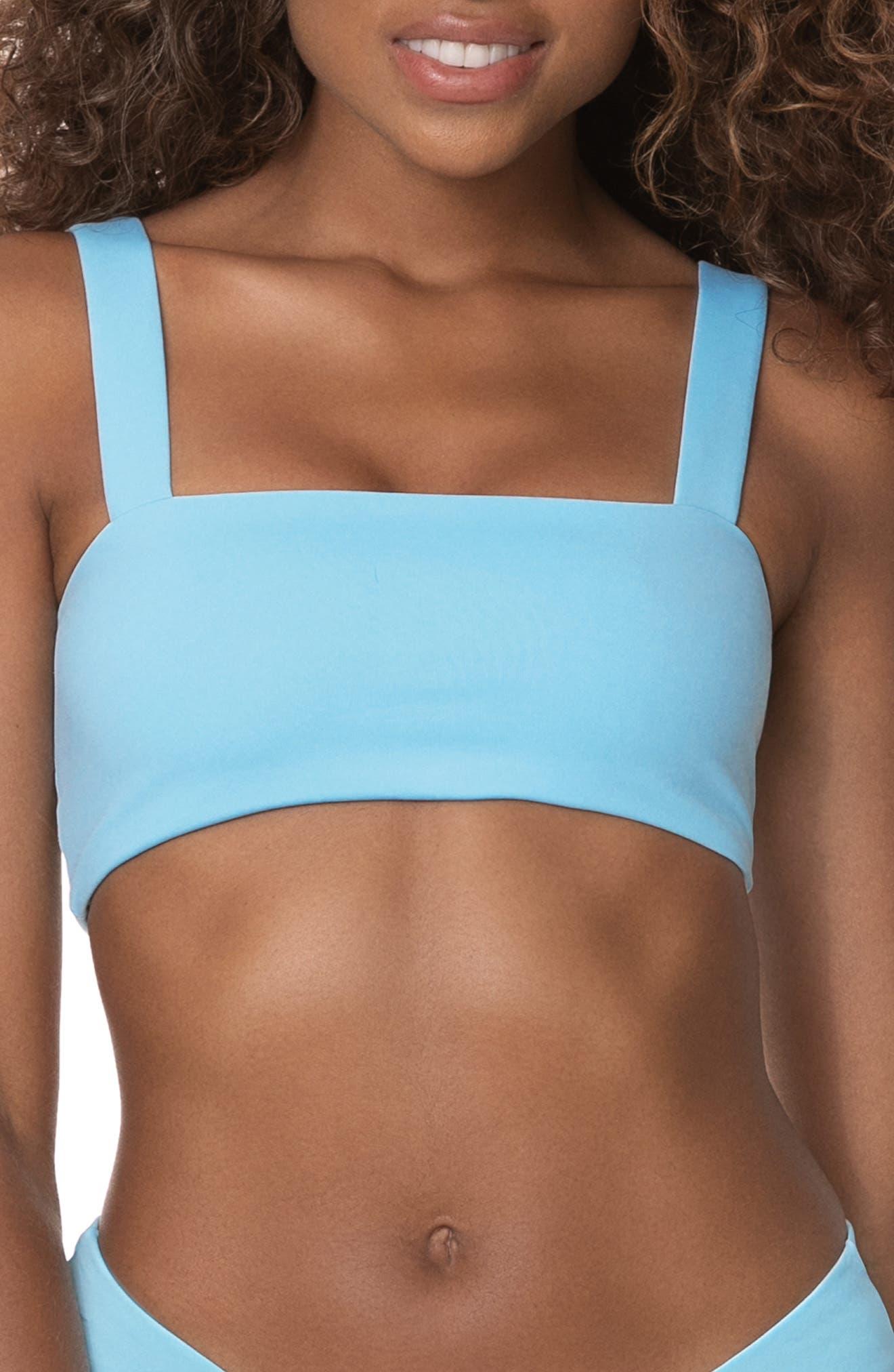Cloud Blue Danzel Reversible Lace-Up Bikini Top