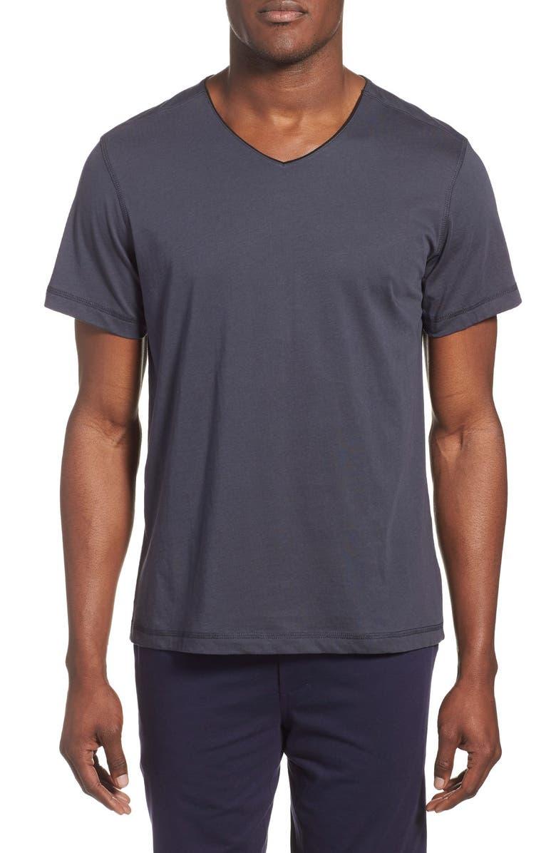 DANIEL BUCHLER Peruvian Pima Cotton V-Neck T-Shirt, Main, color, INK