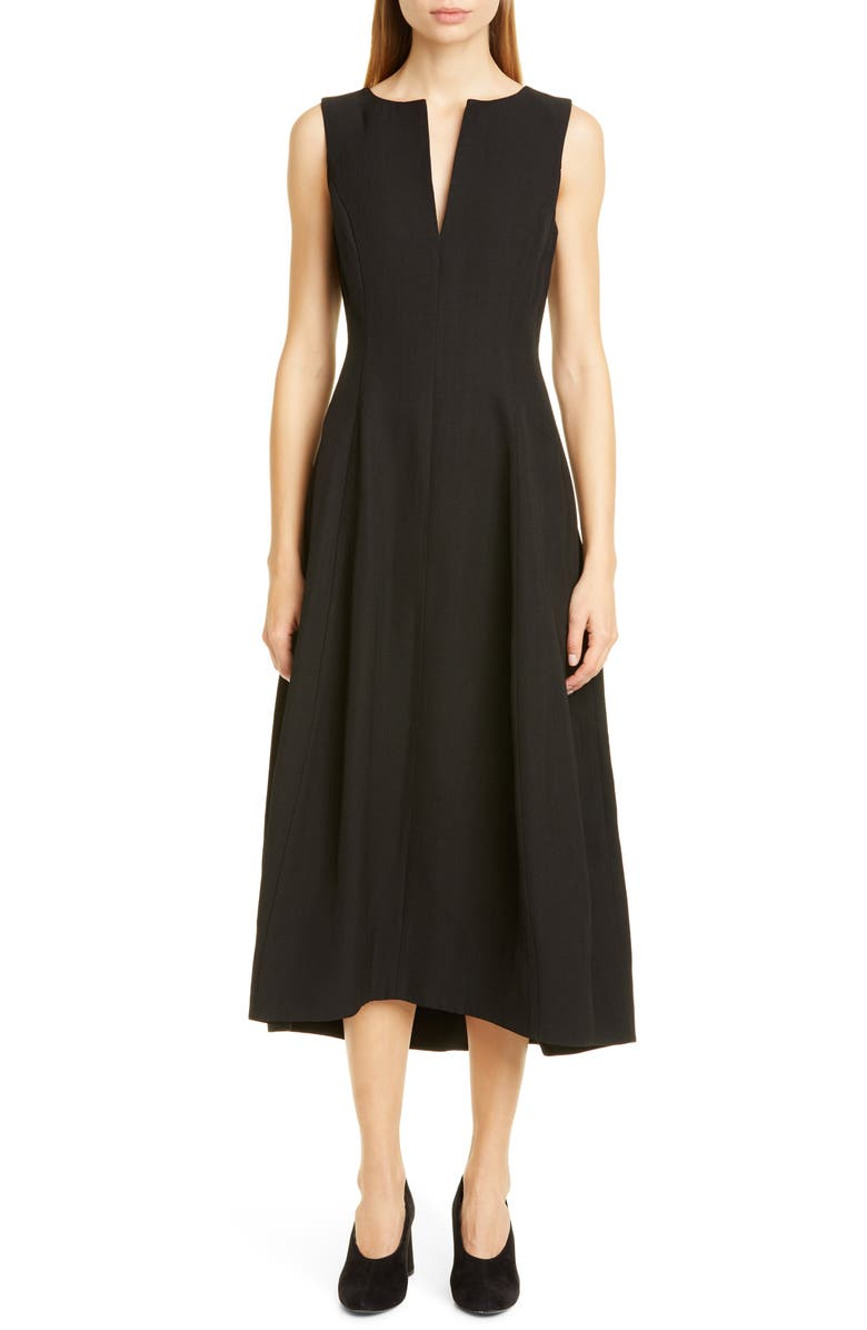 CO Sleeveless Tulip Midi Dress, Main, color, BLACK