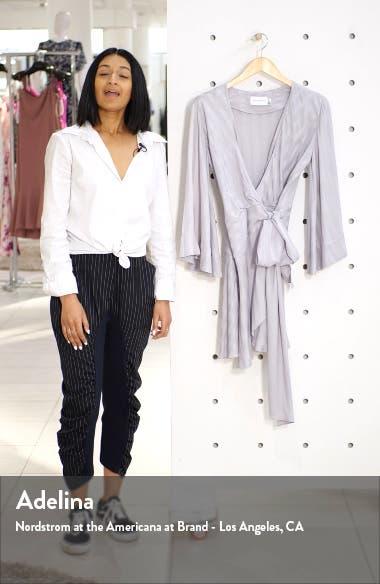 Serenity Stripe Satin Wrap Minidress, sales video thumbnail