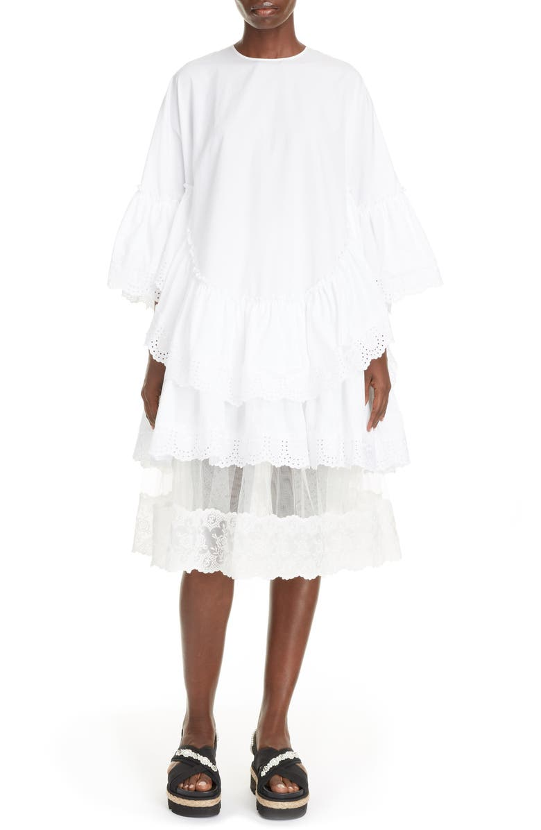 SIMONE ROCHA Eyelet Trim Tiered Cotton Poplin Dress, Main, color, WHITE