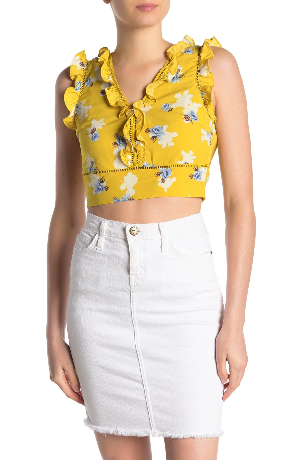 Image of J.O.A. Extended Sleeve Floral Printed Top