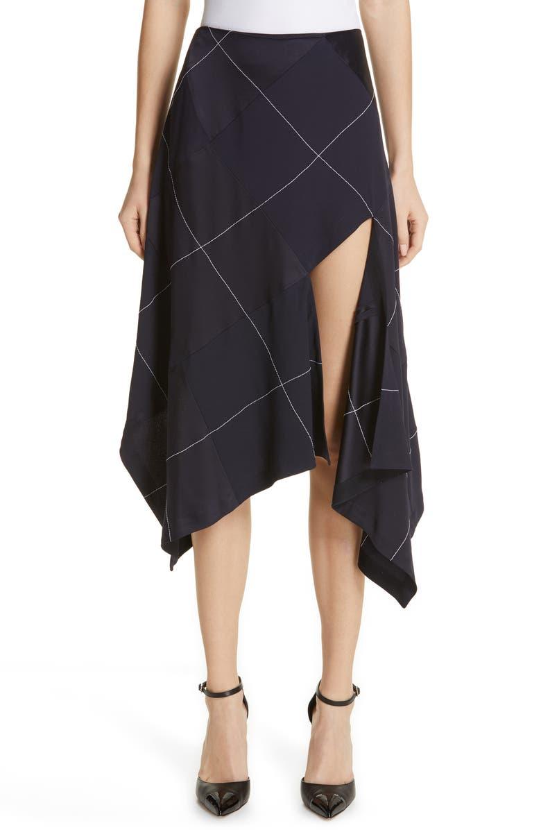 MONSE Grid Asymmetrical Skirt, Main, color, NAVY