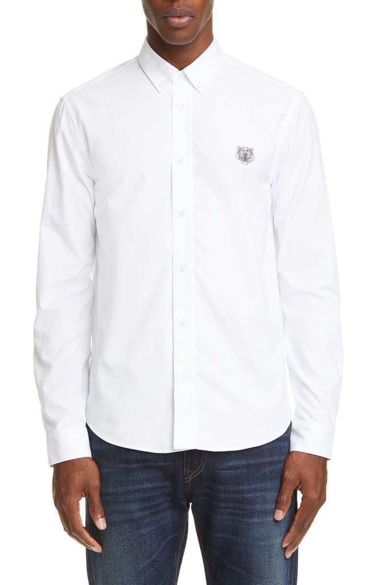 KENZO Tiger Crest Slim Fit Button-Down Shirt, Main, color, WHITE