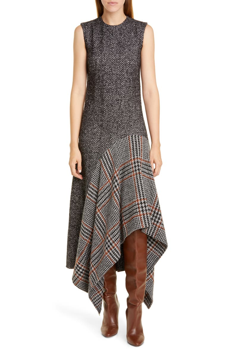 OSCAR DE LA RENTA Asymmetrical Flannel & Tweed Midi Dress, Main, color, ANTHRACITE