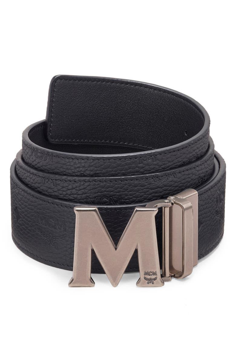 MCM Claus Reversible Leather Belt, Main, color, BLACK