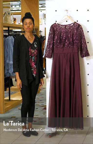 Sequin Embroidered Chiffon A-Line Gown, sales video thumbnail
