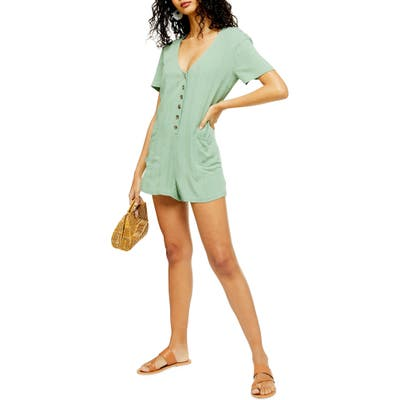Topshop Button Romper Swim Cover-Up, Green