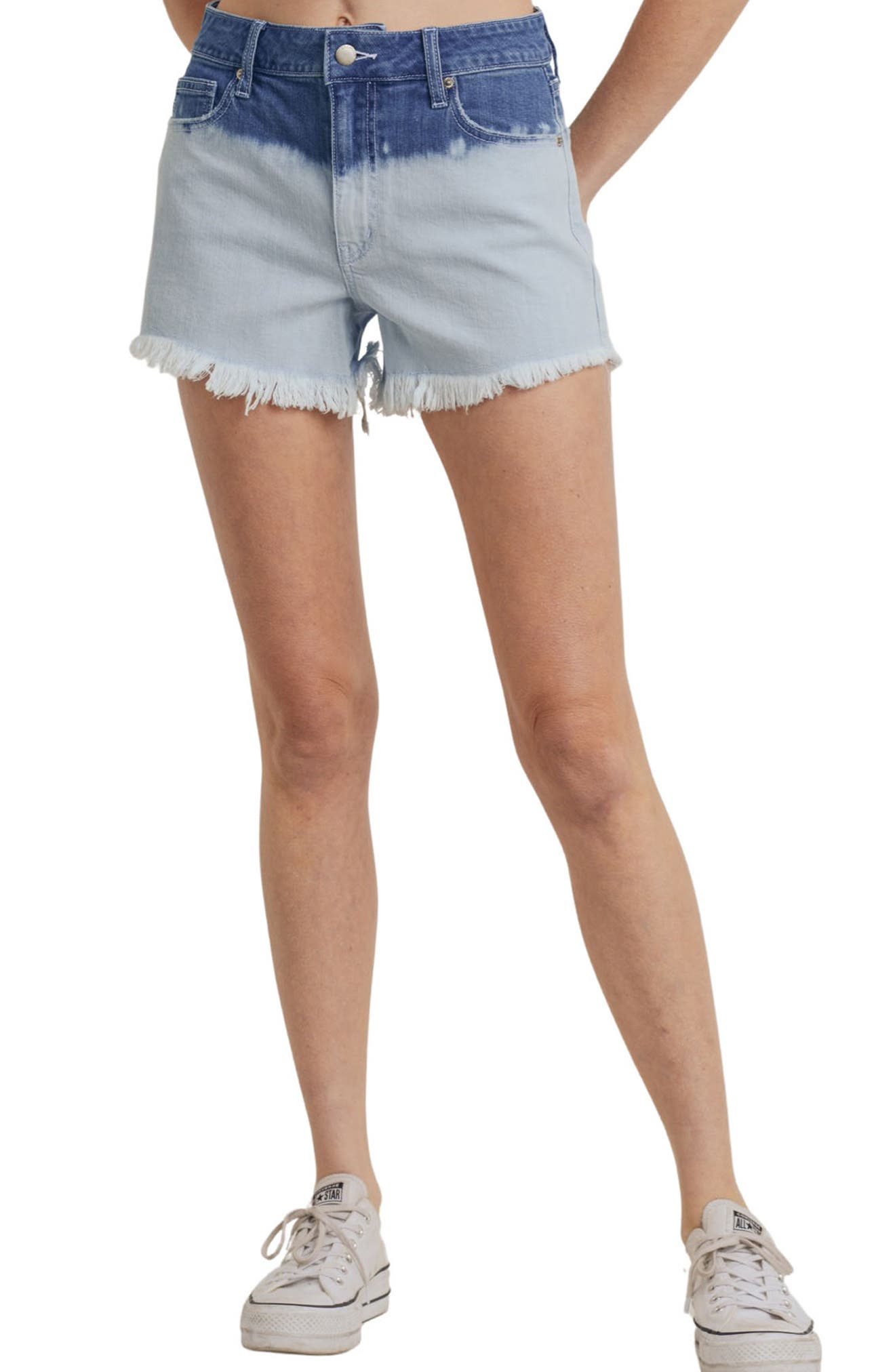 Bleached Ombre High Waist Cutoff Denim Shorts