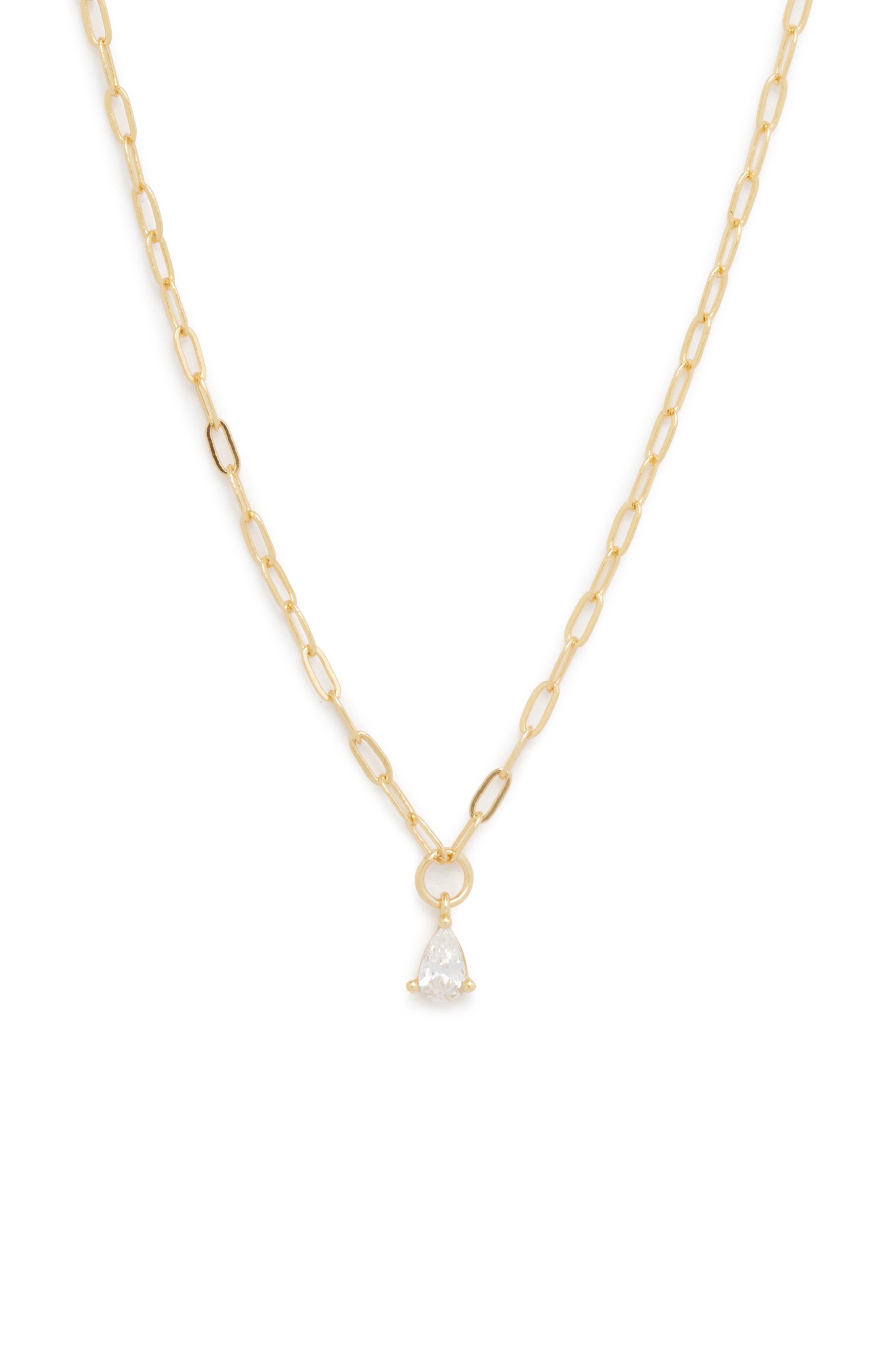 Cubic Zirconia Pear Pendant Necklace
