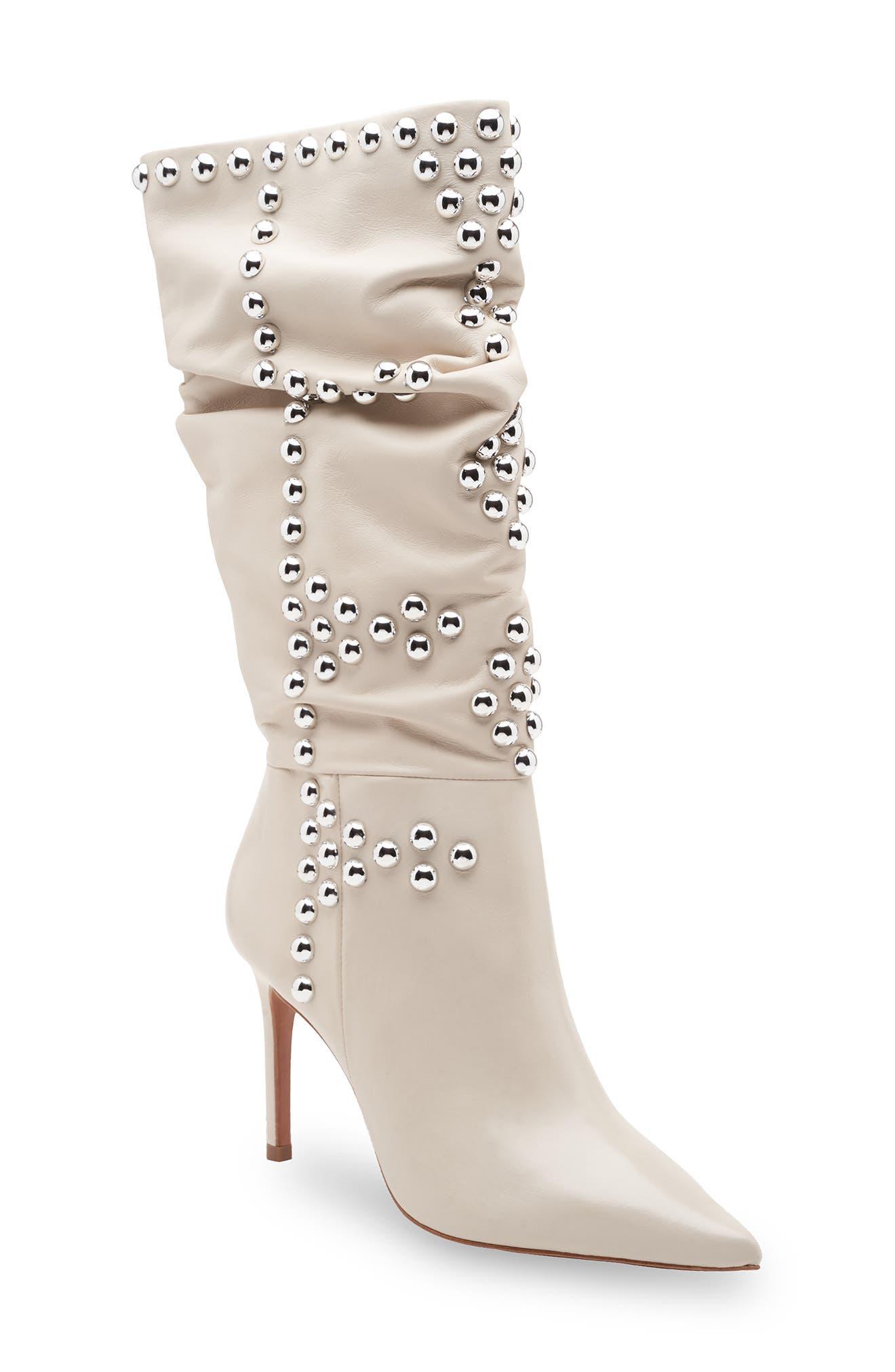 Toni Studded Leather Stiletto Boot