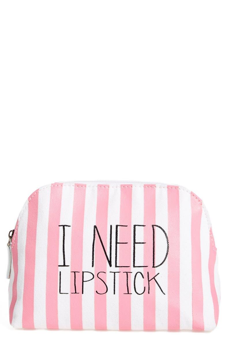 ITSA GIRL THING 'I Need Lipstick' Stripe Cosmetics Case, Main, color, 650