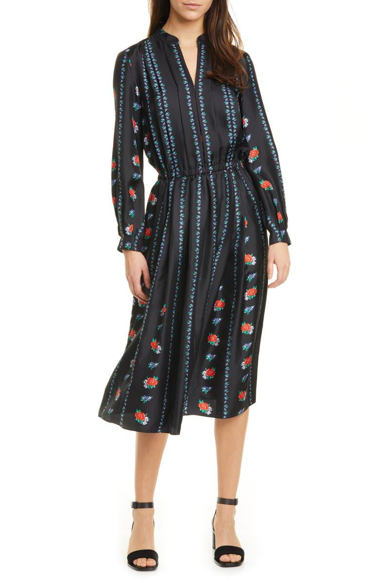TORY BURCH Floral Stripe Long Sleeve Silk Midi Dress, Main, color, HEIRLOOM STRIPE