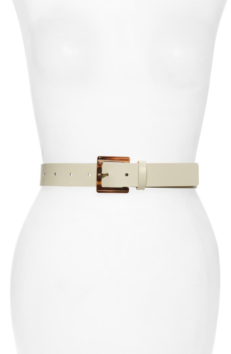HALOGEN<SUP>®</SUP> Square Buckle Leather Belt, Main, color, IVORY CLOUD