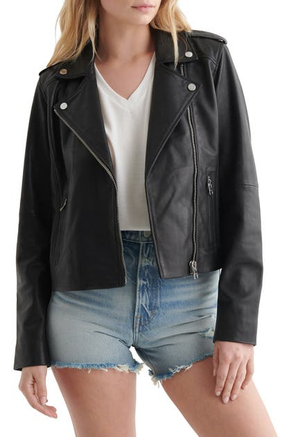 Lucky Brand Leather Moto Jacket In Washed Black