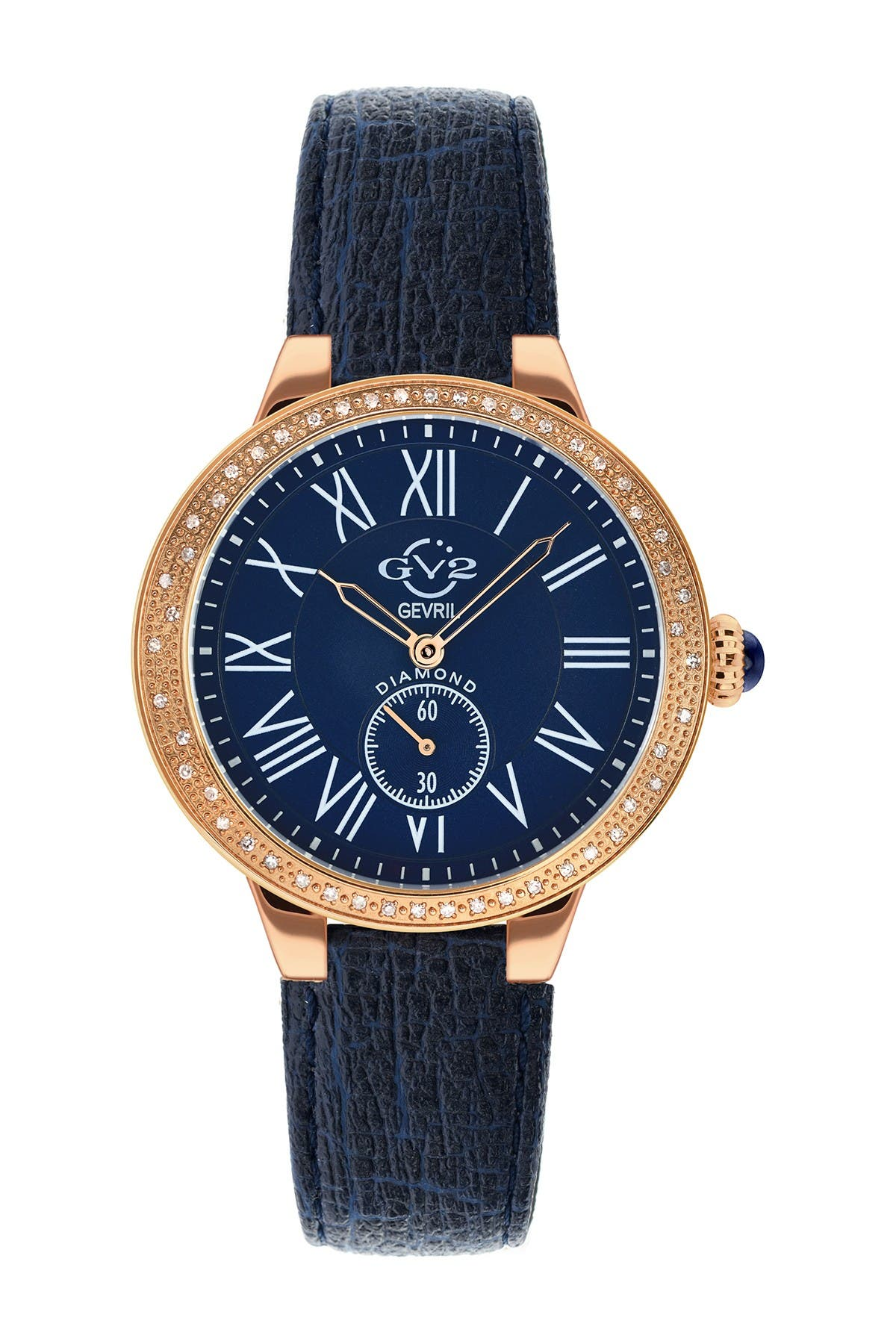 Image of Gevril Women's GV2 Astor Blue Vegan Strap Diamond Watch, 40mm - 0.28 ctw