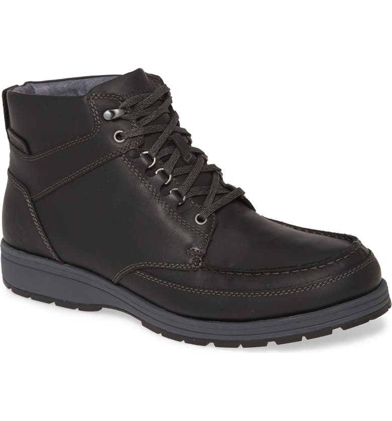 HUSH PUPPIES<SUP>®</SUP> Hush Puppies Beauceron Water Resistant Moc Toe Boot, Main, color, BLACK WP LEATHER
