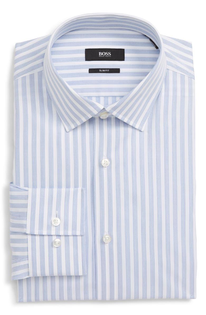 BOSS Jenno Slim Fit Stripe Dress Shirt, Main, color, 420
