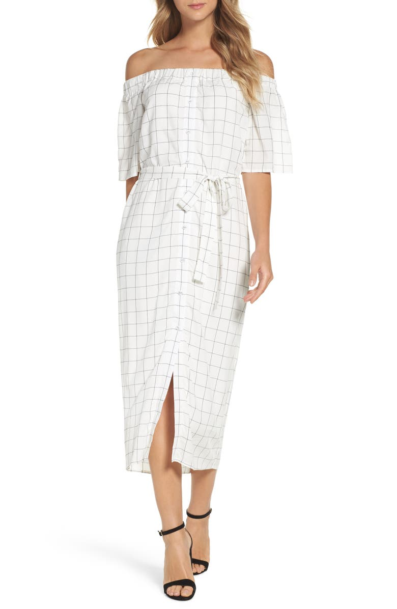 CHARLES HENRY Off the Shoulder Shirtdress, Main, color, IVORY CHECKER