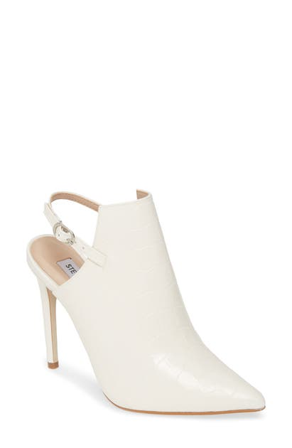 Steve Madden Daily Slingback Pointed Toe Pump In White Croco