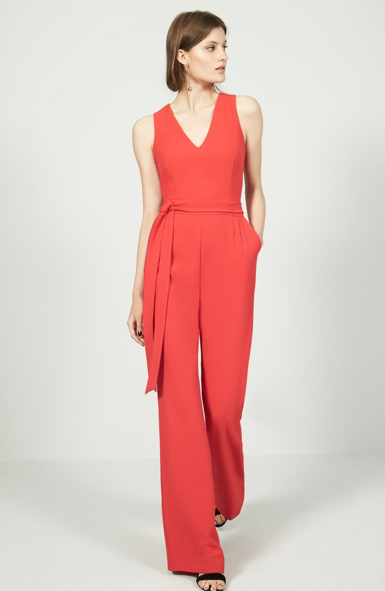 VINCE CAMUTO Tie Front Wide Leg Jumpsuit, Main, color, POPPY