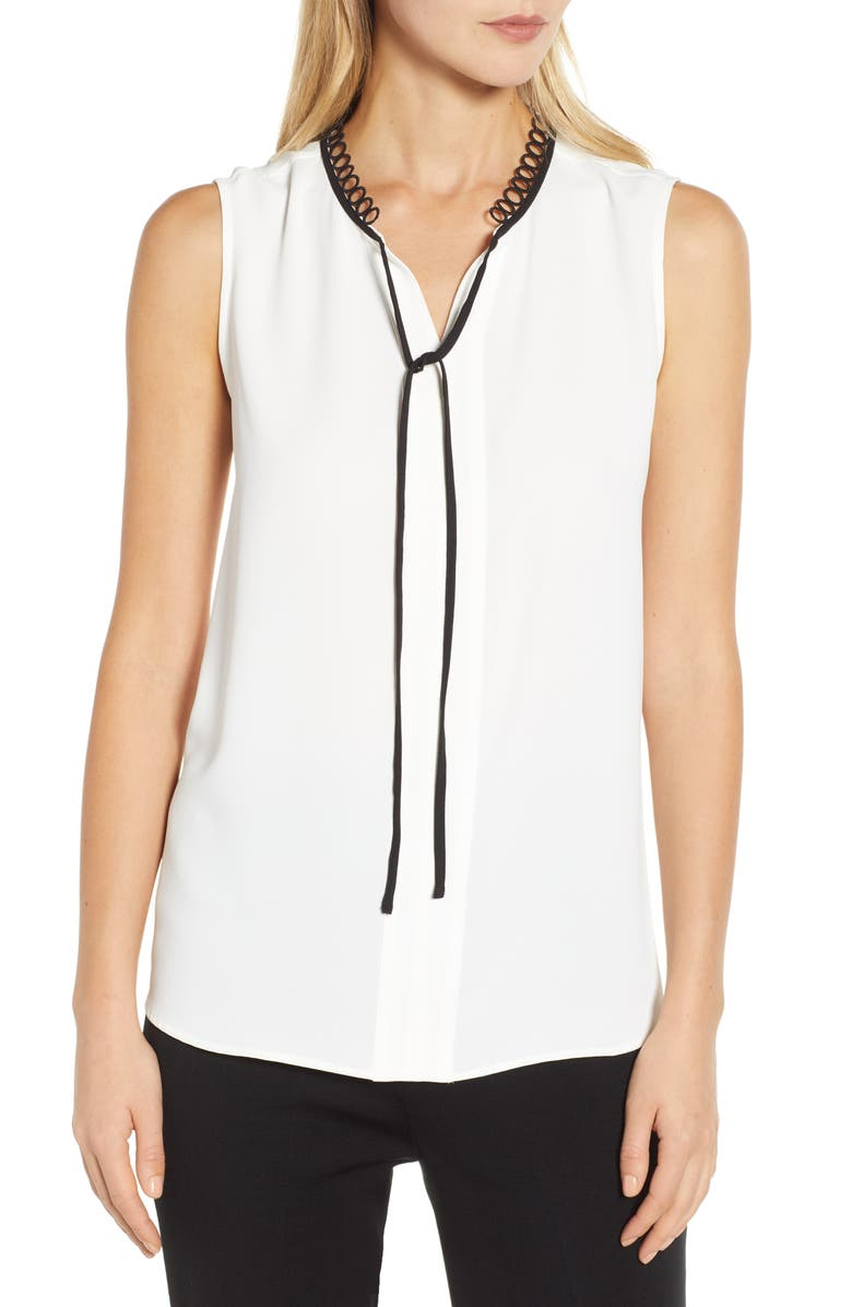 MING WANG Tie Neck Blouse, Main, color, WHITE