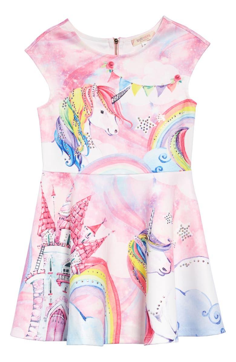 HANNAH BANANA Rainbows & Unicorns Dress, Main, color, PINK MULTI