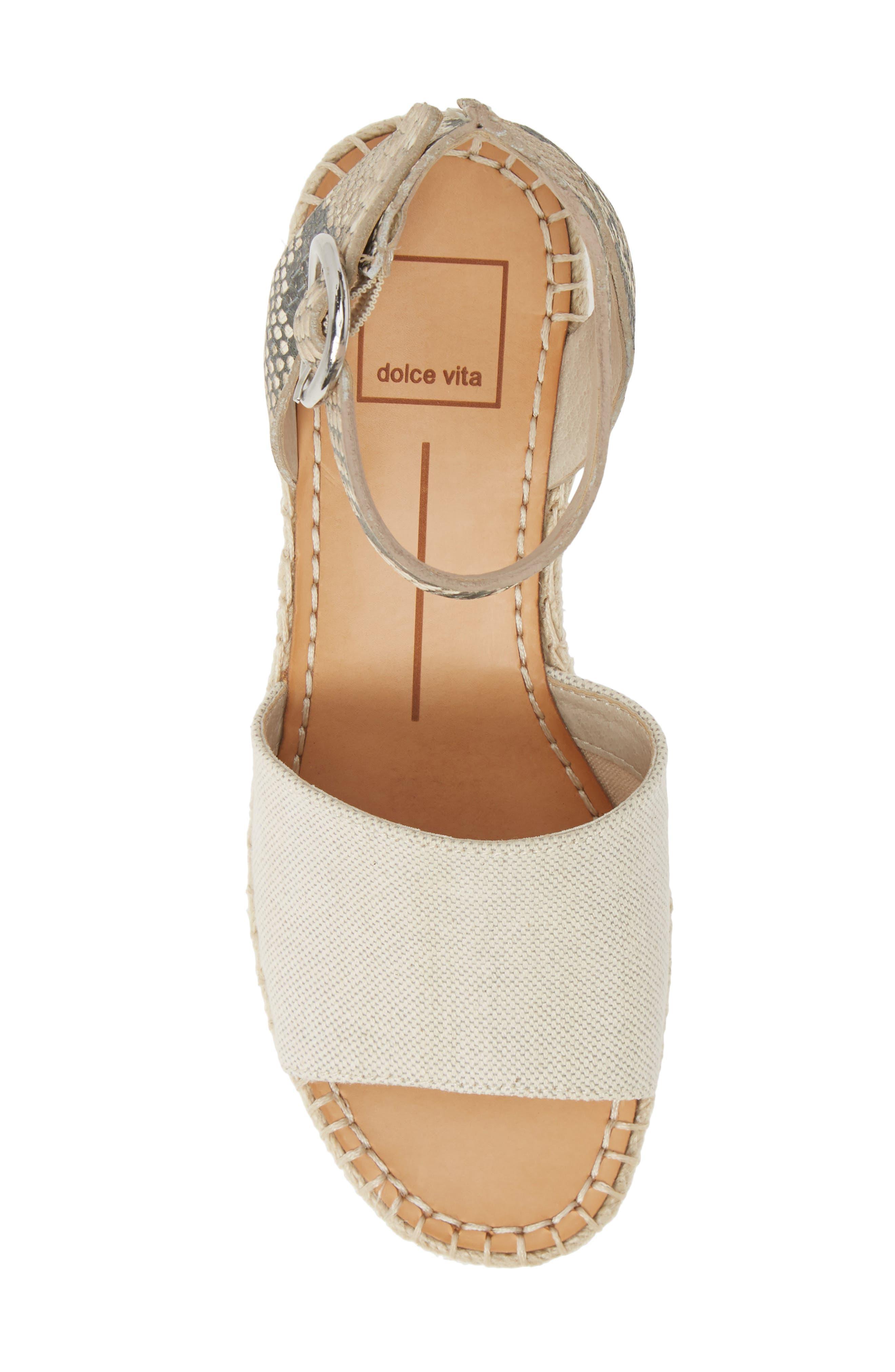,                             Lesly Espadrille Platform Sandal,                             Alternate thumbnail 5, color,                             NATURAL FABRIC