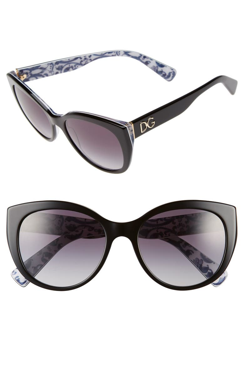 DOLCE&GABBANA 54mm Cat Eye Sunglasses, Main, color, 001