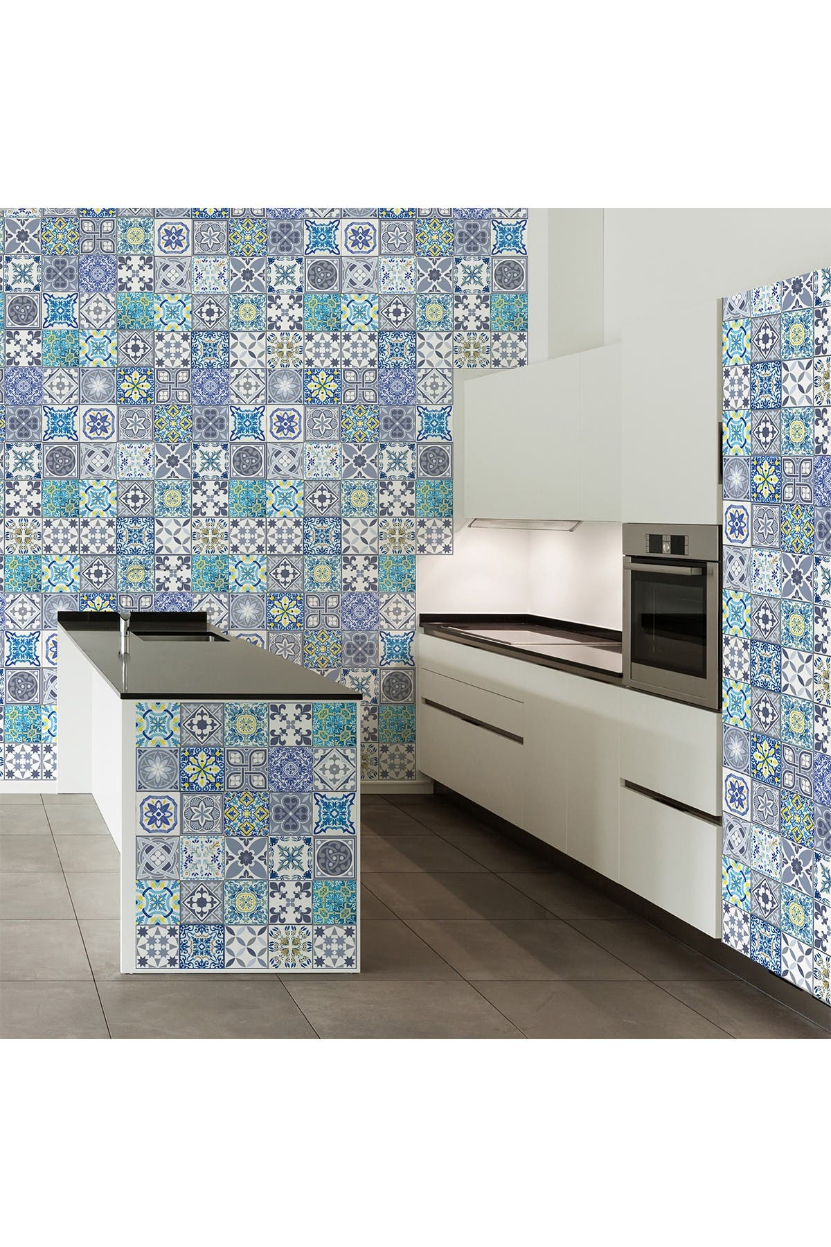 Image of WalPlus King George Blue Mosaic Tile Wall Ceiling Stickers - 48 Pieces