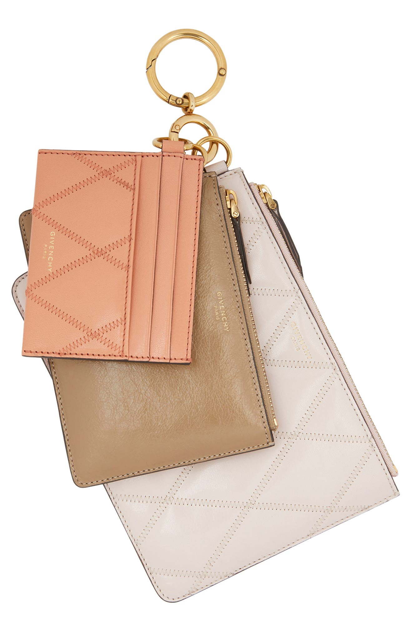 Leather Card Case & Two Pouches Set, Main, color, PALE PINK