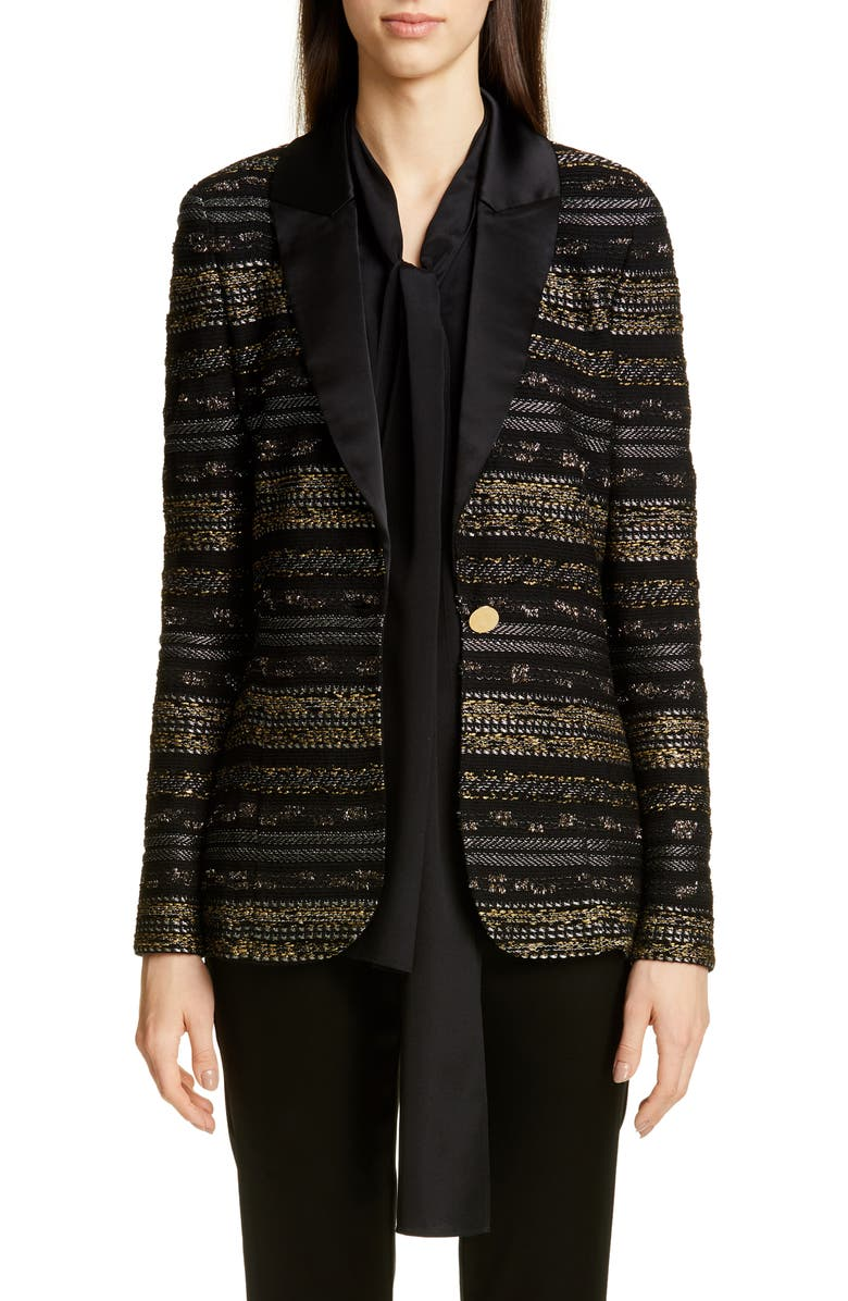 ST. JOHN COLLECTION Passementerie Knit Jacket, Main, color, GOLD/ CAVIAR