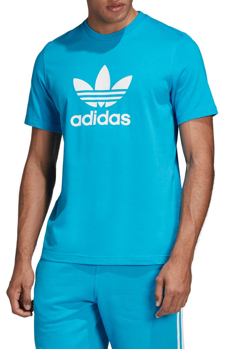 ADIDAS ORIGINALS Trefoil Graphic T-Shirt, Main, color, SHOCK CYAN