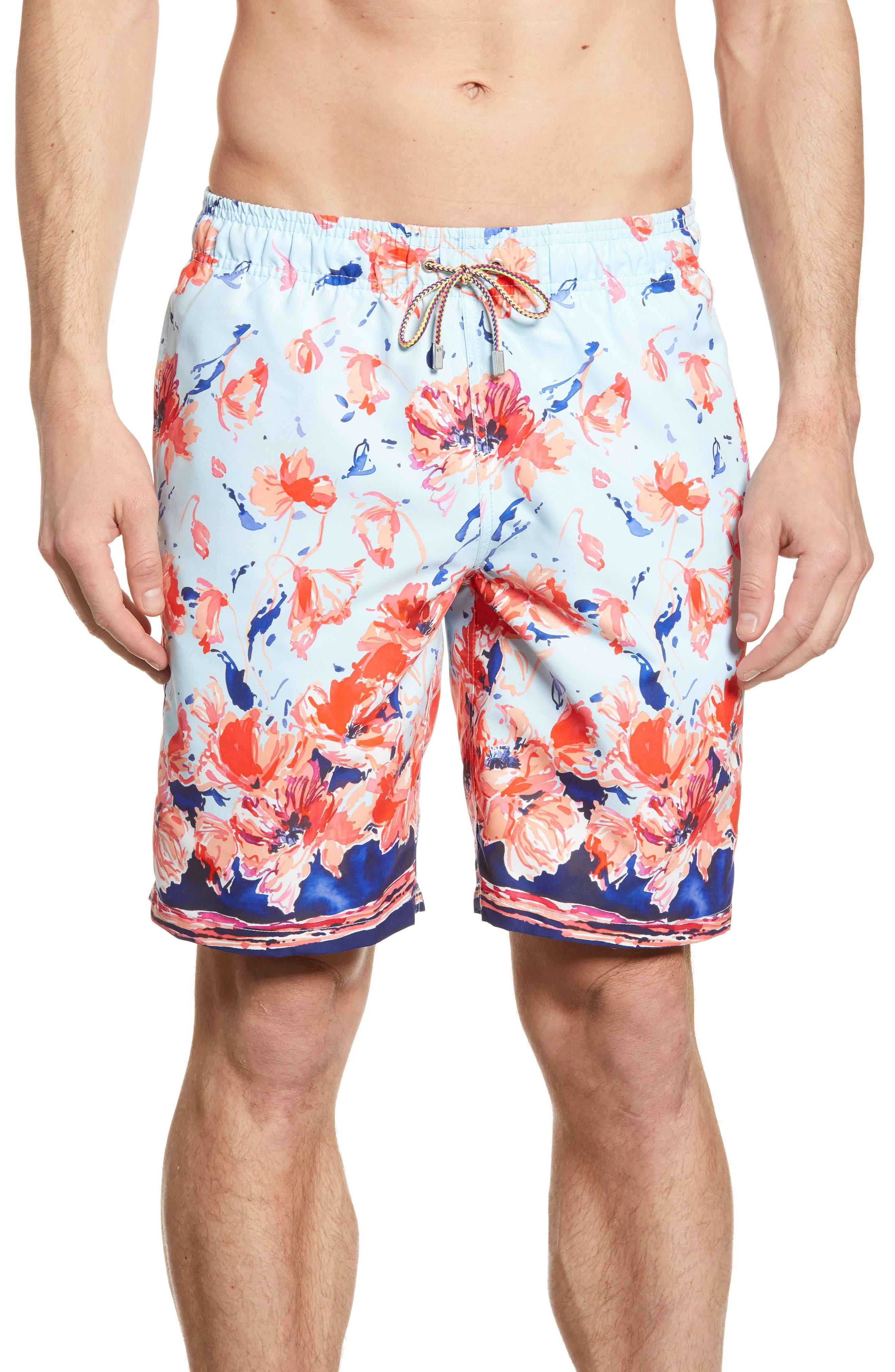 men's bugatchi watercolor floral print swim trunks